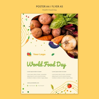 Tema do pôster do dia da comida saudável