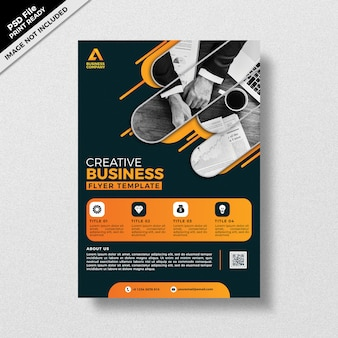 Tema escuro estilo design de modelo de panfleto de negócios criativos
