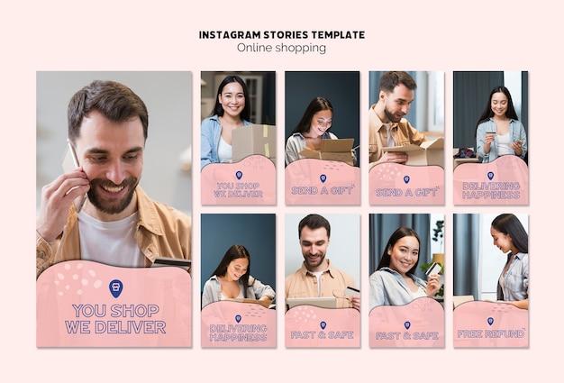Tema online de compras para histórias do instagram