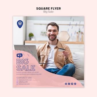 Tema online de compras para o conceito de panfleto
