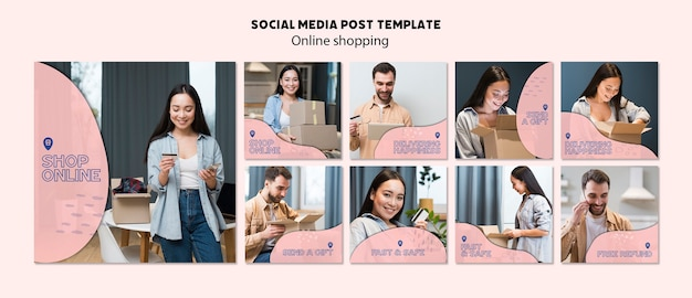 Tema online de compras para publicação em mídia social