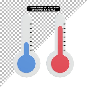 Temperatura do ícone simples da ilustração 3d