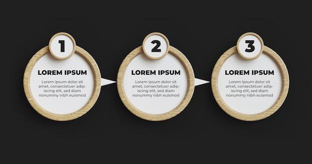 Template de elemento infograpich de madeira passo
