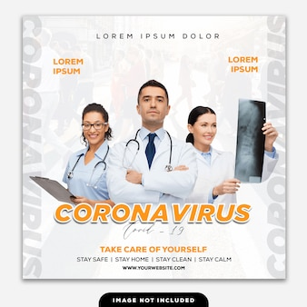 Template instagram post coronavirus doctor against covid-19