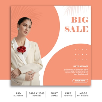 Template post square banner for instagram, fashion beautiful girl minimalism elegant clean big sale