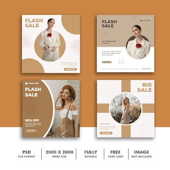 Template post square banner for instagram, fashion beautiful girl minimalism elegant clean