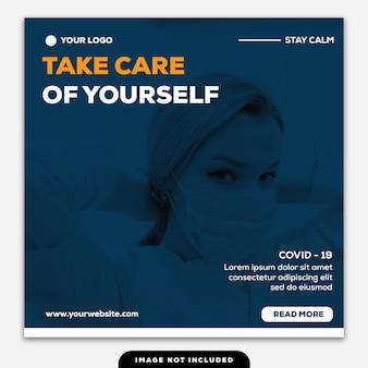 Template social media post square banner enfermeira de coronavírus usando máscara