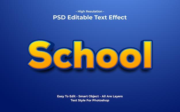 Templete de efeito de texto escolar
