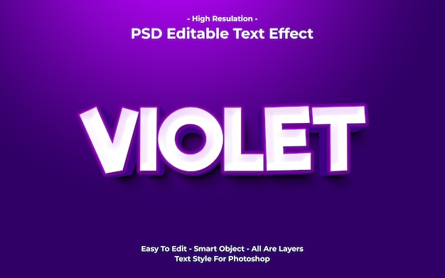 Templete de efeito de texto violeta