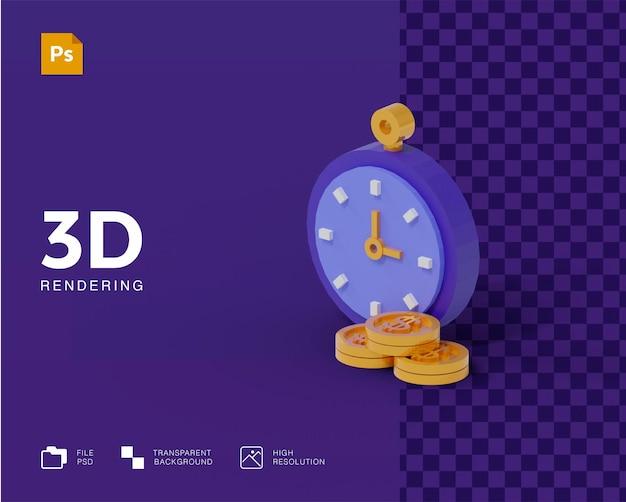 Tempo 3d é ícone de dinheiro