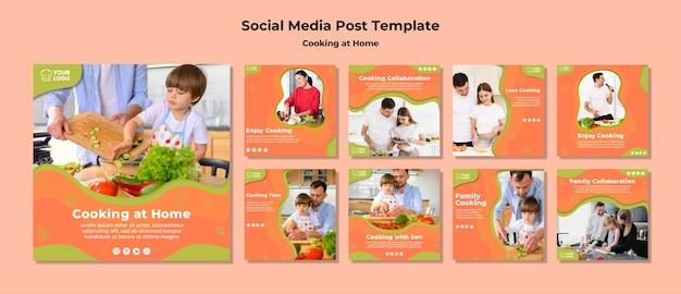 Tempo de cozimento com a publicação de mídia social da família
