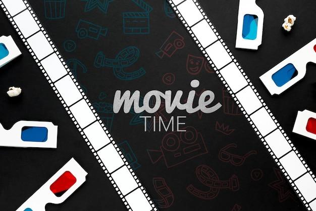 Tempo de filme com tira de filme e óculos 3d