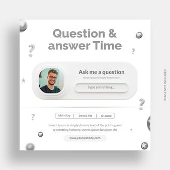 Tempo de perguntas e respostas para modelo de post instagram em mídia social