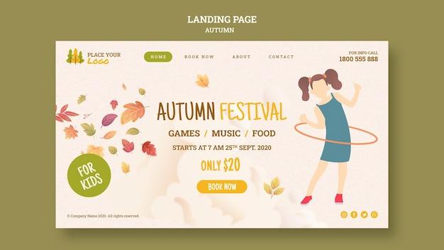 Tempo divertido na página de destino do festival de outono para crianças