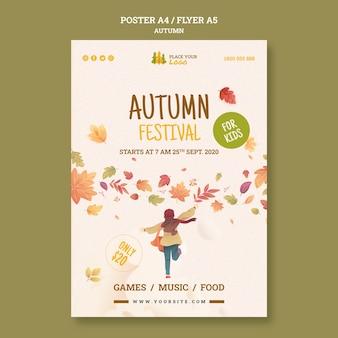 Tempo divertido no modelo de folheto do festival de outono