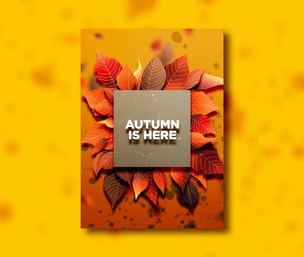 Temporada de outono um cartão de lado com folhas