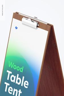 Tenda de mesa de madeira com maquete de grampo, close-up