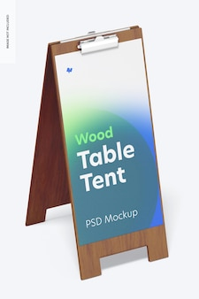 Tenda de mesa de madeira com maquete de grampo