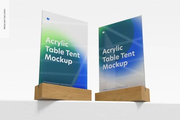 Tendas de mesa de acrílico com base maquete de madeira, vista de baixo ângulo