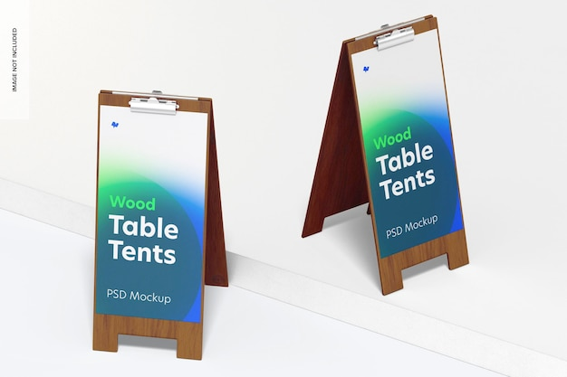 Tendas de mesa de madeira com maquete de grampo, vista frontal