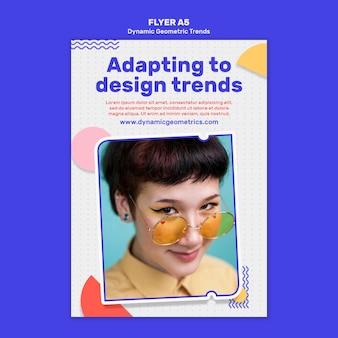 Tendências geométricas em design gráfico flyer com foto