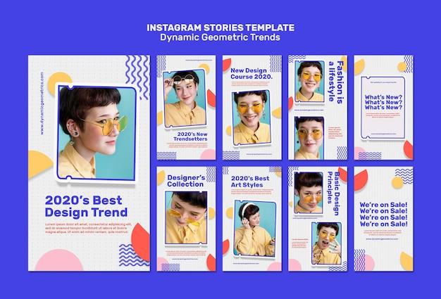 Tendências geométricas em histórias de mídia social de design gráfico