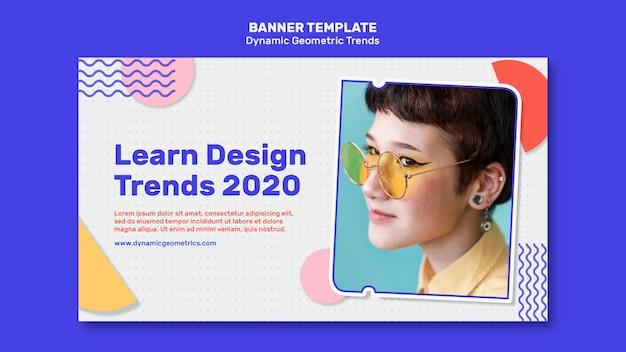Tendências geométricas em modelo de banner de design gráfico com foto