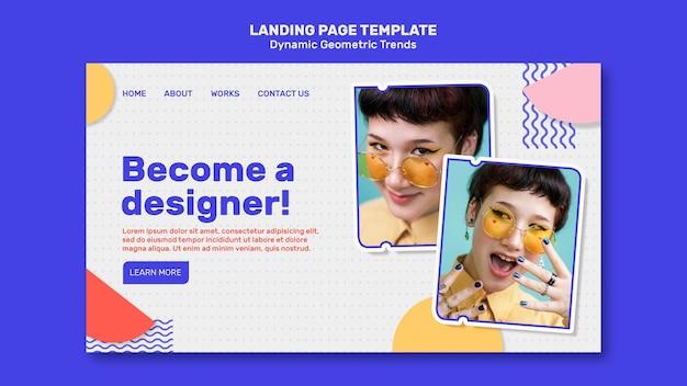 Tendências geométricas em modelo de página de destino de design gráfico com foto
