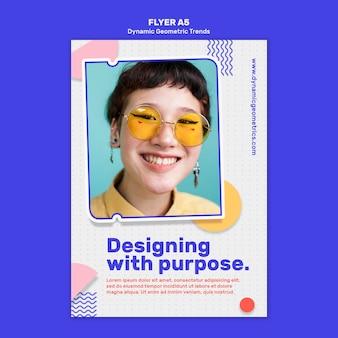 Tendências geométricas em panfleto de design gráfico
