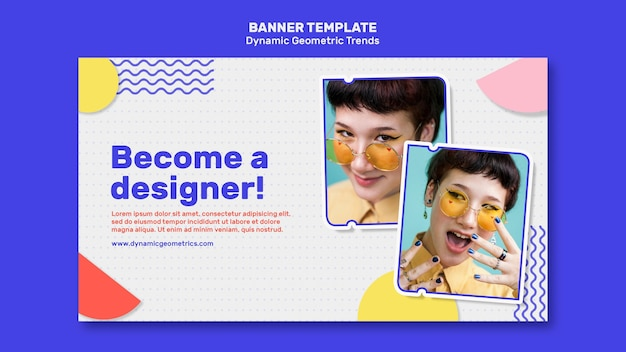 Tendências geométricas no modelo de banner de design gráfico