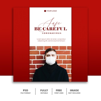 Tenha cuidado social media post template instagram, red man with mask coronavirus