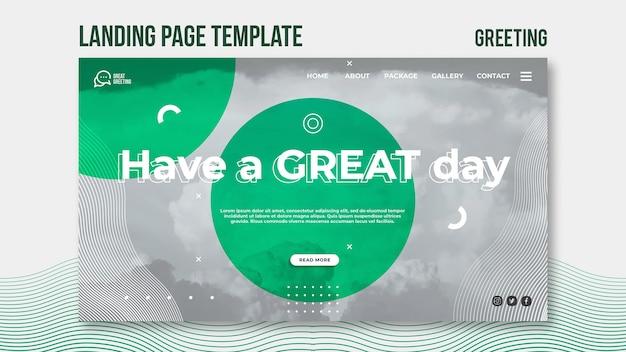 Tenha uma página de destino de mensagem de ótimo dia