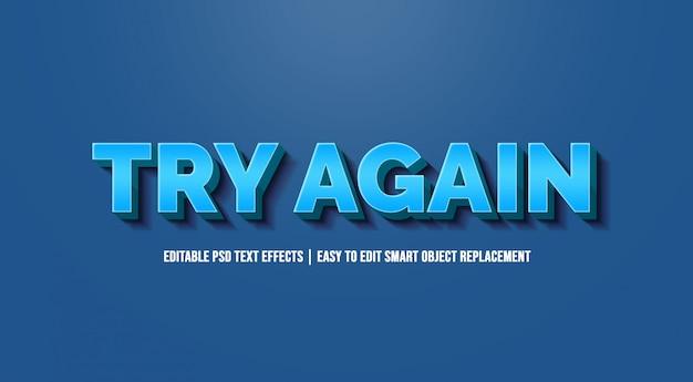 Tente novamente com efeitos de texto em gradiente azul