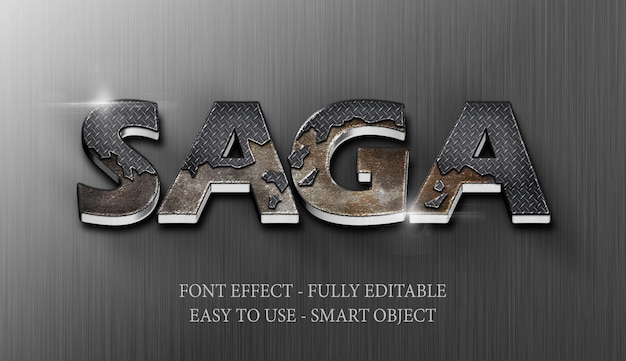 Text effect 3d iron steel crack