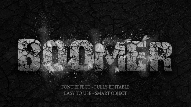 Text effect 3d rock está quebrado e explosivo