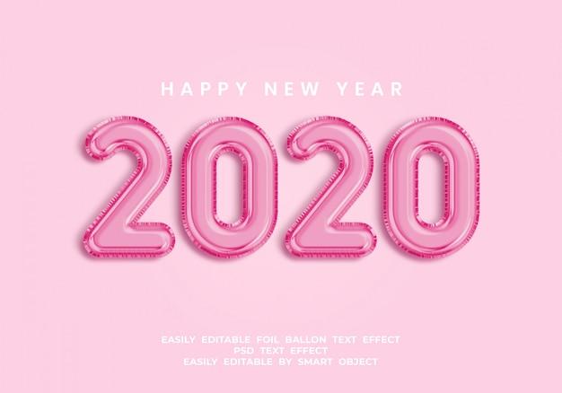 Texto 2020 em estilo balão 3d