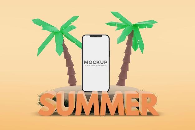 Texto 3d de verão com smartphone em maquete de pódio de areia
