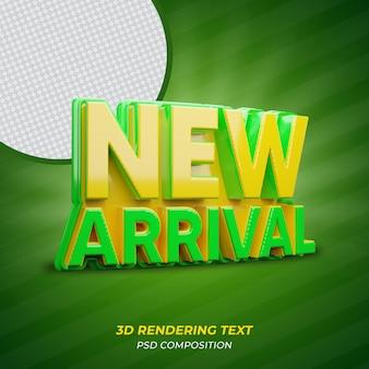 Texto 3d em cor verde recém-chegado