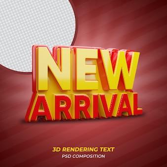 Texto 3d em vermelho recém-chegado