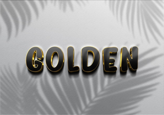 Texto 3d realistic black golden effects