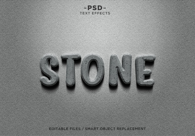 Texto 3d realistic stone effects