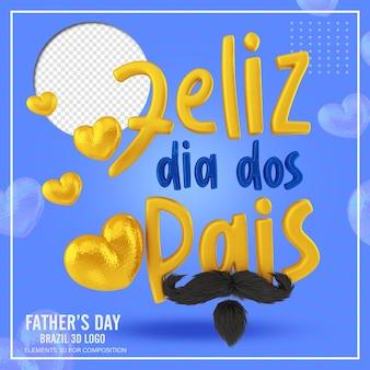Texto amarelo engraçado com bigode do dia dos pais
