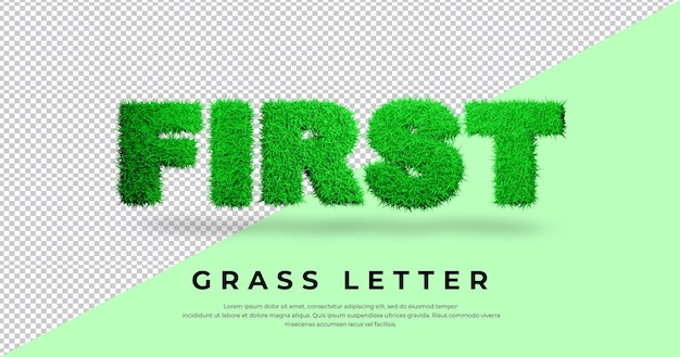 Texto da primeira letra com design de grama 3d