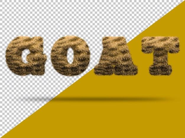 Texto de cabra com pele 3d realista