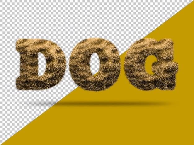 Texto de cachorro com pele 3d realista