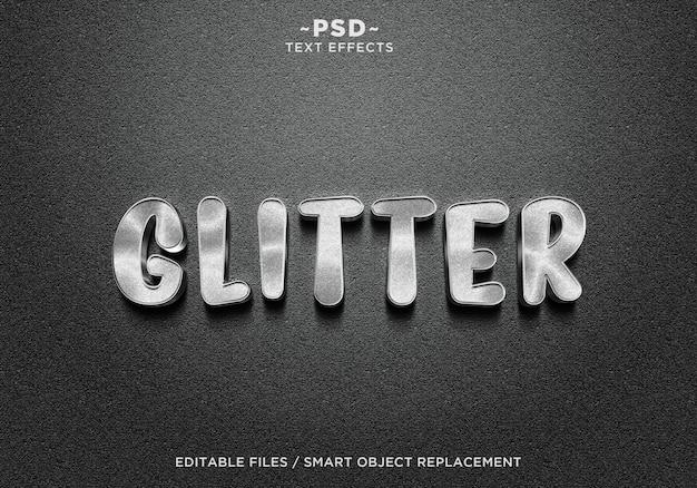 Texto de efeitos 3d realistic glitter silver