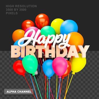 Texto de feliz aniversário com renderização 3d