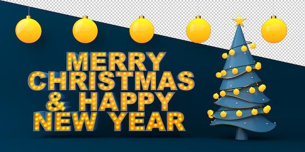 Texto de feliz natal e feliz ano novo com árvore de natal