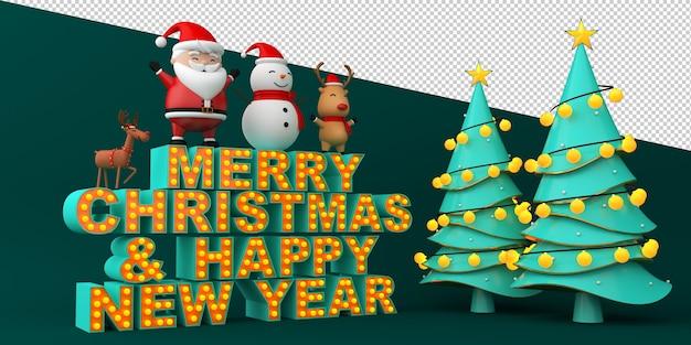 Texto de feliz natal e feliz ano novo com ilustrações de natal