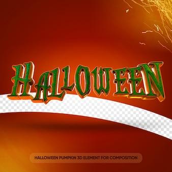 Texto de halloween 3d para modelo de composição